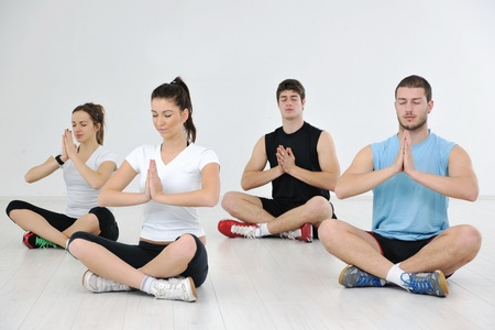 happy young people group in excercise and relax in  fitness club Stock Photo - 9296446