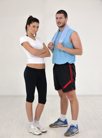 happy young people group in excercise and relax in  fitness club Stock Photo - 9296444