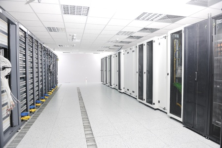 internet network server room with computers racks and digital receiver for digital tv Stock Photo - 8757522