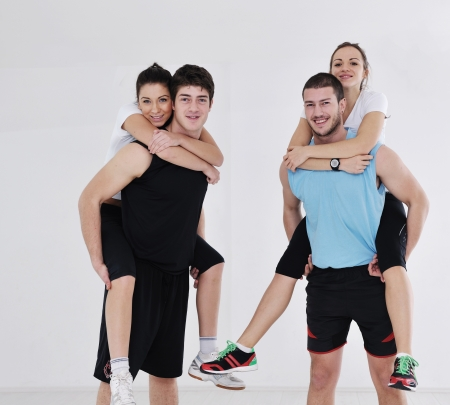happy young people group in excercise and relax in  fitness club Stock Photo - 17732728