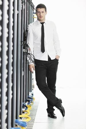 young handsome business man it  engeneer in datacenter server room Stock Photo - 8759723