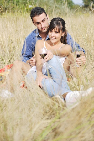 happy young couple enjoying  picnic on the countryside in the field  and have good time Stock Photo - 8768791