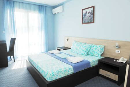 accomodation: fresh and clean hotel room indoor Stock Photo