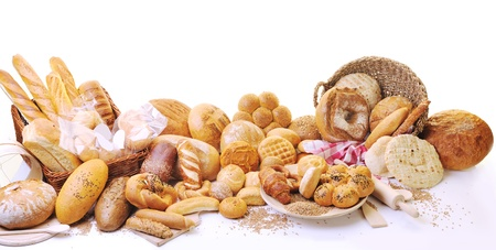 pastry: fresh healthy natural  bread food group in studio on table Stock Photo