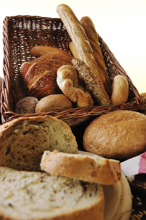 fresh healthy natural  bread food group in studio on table photo