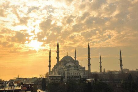 constantinople ancient: beautiful old mosque  at istambul on sunset