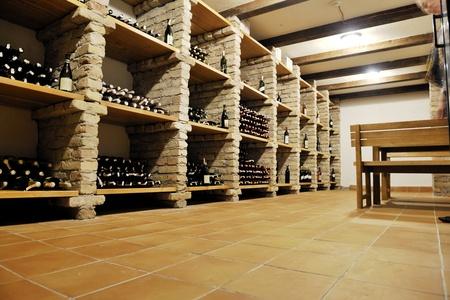 vino: vine bar undergraund with many of different wine bottles Stock Photo