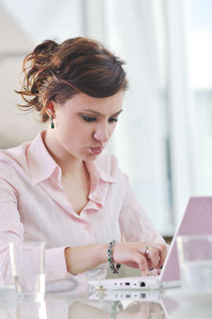 happy young business woman working on laptop computer at  group team meeting at modern office Stock Photo - 9077567