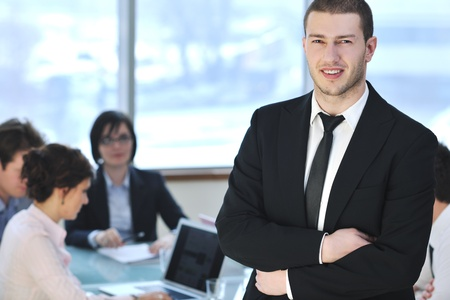 happy young business people group have  meeting at conference room and argue about new ideas and plans Stock Photo - 9077564