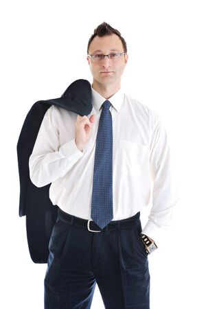 happy young businessman in business suit  portrait isolated on white background photo
