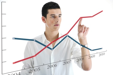 illustration of young business man planing and solving problems with illustrated graph disply screen for database and statistycs illustration