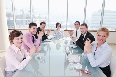 young business people group have  meeting at conference room and have discusion  about new ideas  plans and problems Stock Photo - 9257285