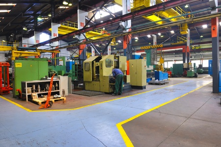 factory building: industry factory iron works steel and machine parts modern indoor hall for assambly