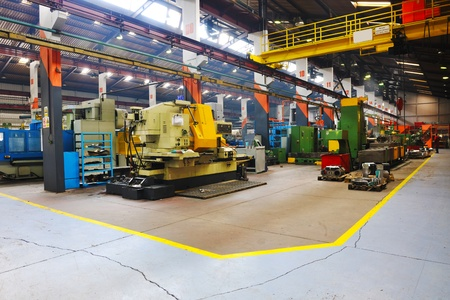 assembly hall: industry factory iron works steel and machine parts modern indoor hall for assambly