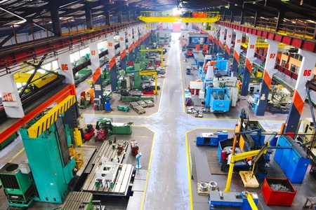 machine: industry factory iron works steel and machine parts modern indoor hall for assambly