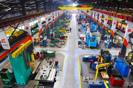 iron works: industry factory iron works steel and machine parts modern indoor hall for assambly