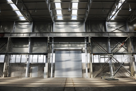 commercial dock: big industry garage door indoor in company hall