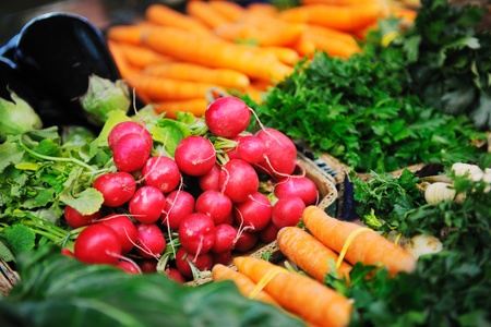 the stalls: fresh organic vegetables eco food on market