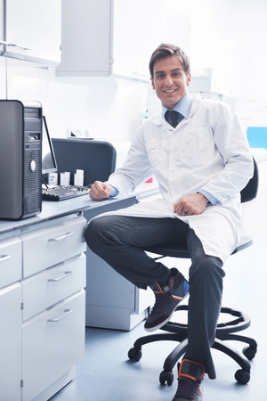 research and  science doctor student  people  in bright labaratory representing chemistry education and medicine concept Stock Photo - 9404547