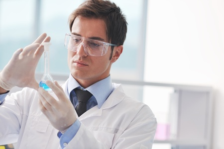 research and  science doctor student  people  in bright labaratory representing chemistry education and medicine concept Stock Photo - 9425040