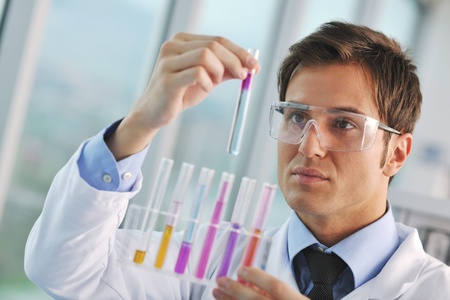 research and  science doctor student  people  in bright labaratory representing chemistry education and medicine concept Stock Photo - 9432602