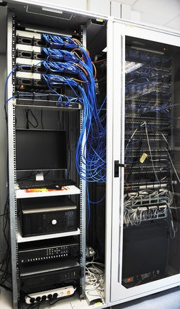network server room routers and cables photo