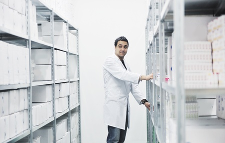 medical decisions: medical factory  supplies storage indoor with workers people