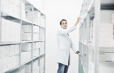 medical choice: medical factory  supplies storage indoor with workers people