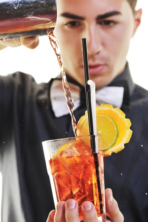shaker: young barman portrait isolated on white background with alcohol coctail drink