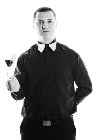 young barman portrait isolated on white background with alcohol coctail drink Stock Photo - 9525751