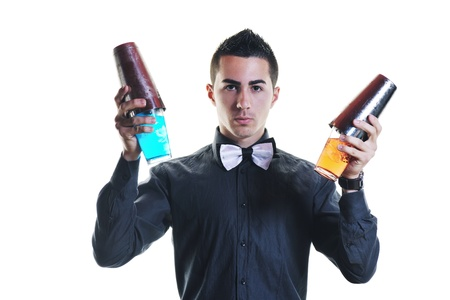 cocktail shaker: young barman portrait isolated on white background with alcohol coctail drink