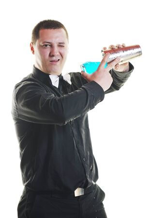 young barman portrait isolated on white background with alcohol coctail drink Stock Photo - 9525897
