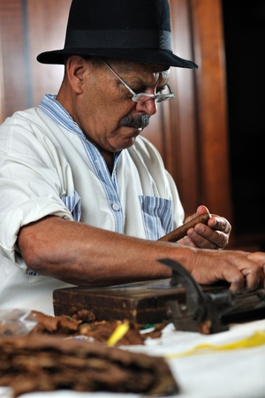 older senior man making luxury handmade cuban cigare photo