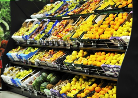 fresh fruits and vegetables in supermarket store shop photo