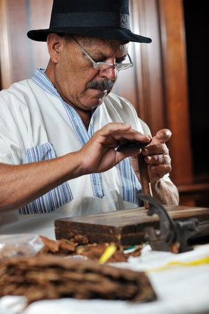 cuban culture: older senior man making luxury handmade cuban cigare Stock Photo