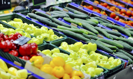 fresh fruits and vegetables in supermarket store shop Stock Photo - 9554870