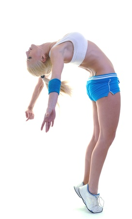 fitness and exercise with blonde woman  isolated on white representing diet and weight loss concept photo