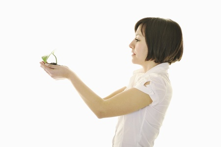 business metaphore: young business woman isolated on white holding green plant with small leaf and waiting to grow