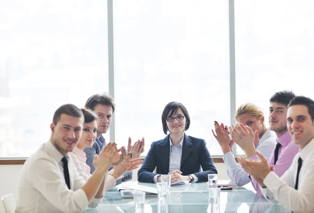 young business people group have  meeting at conference room and have discusion  about new ideas  plans and problems Stock Photo - 9619482