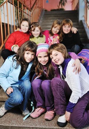 classmates at school stairway photo