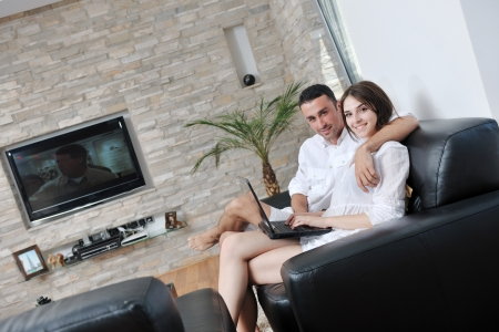 lifestyle home: joyful couple relax and work on laptop computer at modern livingroom indoor home Stock Photo