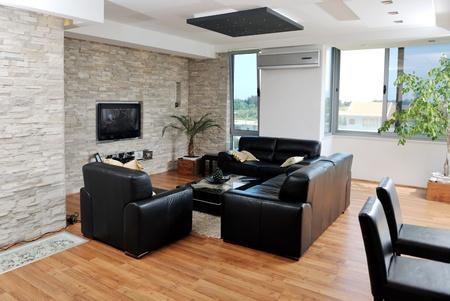 jídelna: Moderní světlý dům obývací pokoj interiér Reklamní fotografie