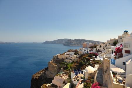 aegean sea: summer vacation on beautiful vulcanic island santorini at greece