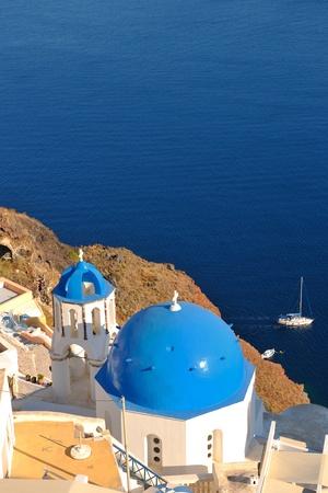 fira: summer vacation on beautiful vulcanic island santorini at greece