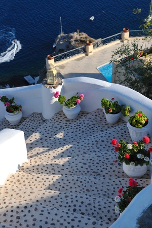 santorini greece: summer vacation on beautiful vulcanic island santorini at greece