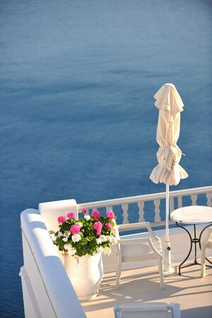 summer vacation on beautiful vulcanic island santorini at greece