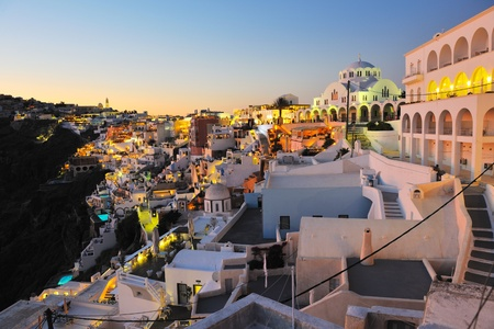 fira: summer vacation on beautiful vulcanic island santorini at greece