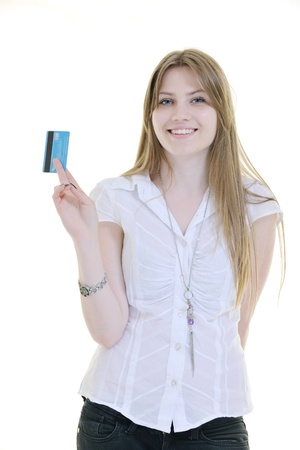 woman hold money credit card isolated on white bacground ready for online money transaction and shopping Stock Photo - 10244831