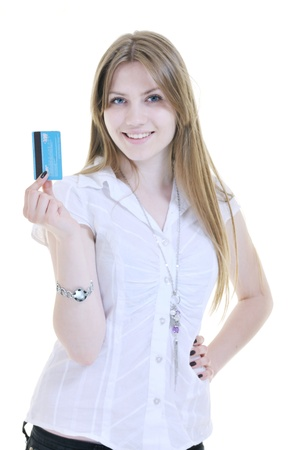 woman hold money credit card isolated on white bacground ready for online money transaction and shopping Stock Photo - 10244808