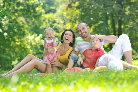 happy young couple with their children have fun at beautiful park outdoor in nature Stock Photo - 10415034